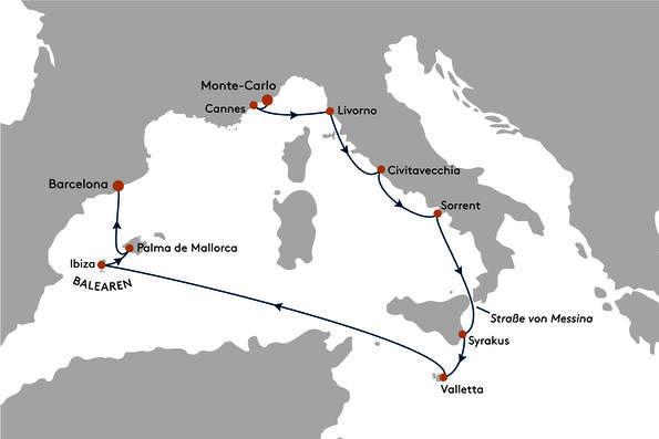 Route der Mittelmeer Kreuzfahrt mit MS EUROPA