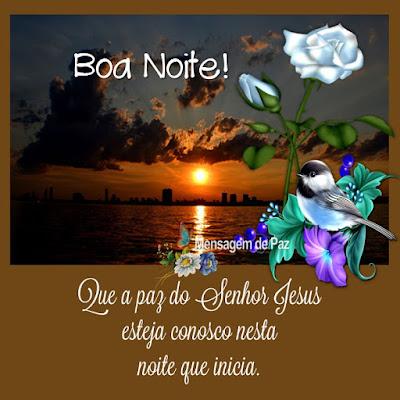 Que a paz do Senhor Jesus esteja conosco nesta noite que inicia. Boa Noite!