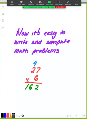 Colorful writing on the Whiteboard app for online instruction