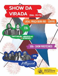 Registro-SP terá Show da Virada na Praça Beira Rio