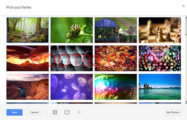 menampilkan tema/background yang tersedia