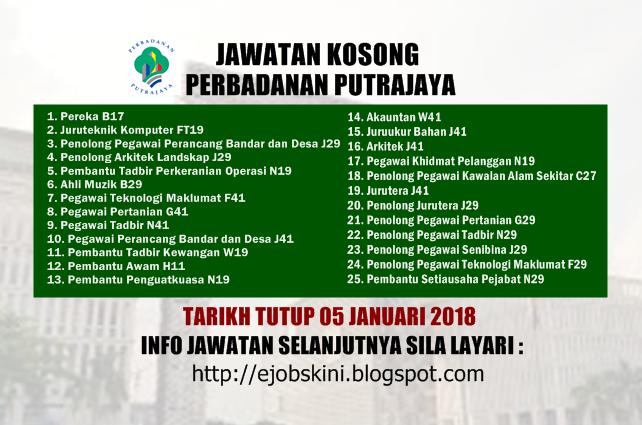 Jawatan Kosong Perbadanan Putrajaya Ppj 05 Januari 2018
