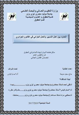 مذكرة ماستر: الحدود بين عمل التسيير والعمل الجزائي في القانون الجزائري PDF