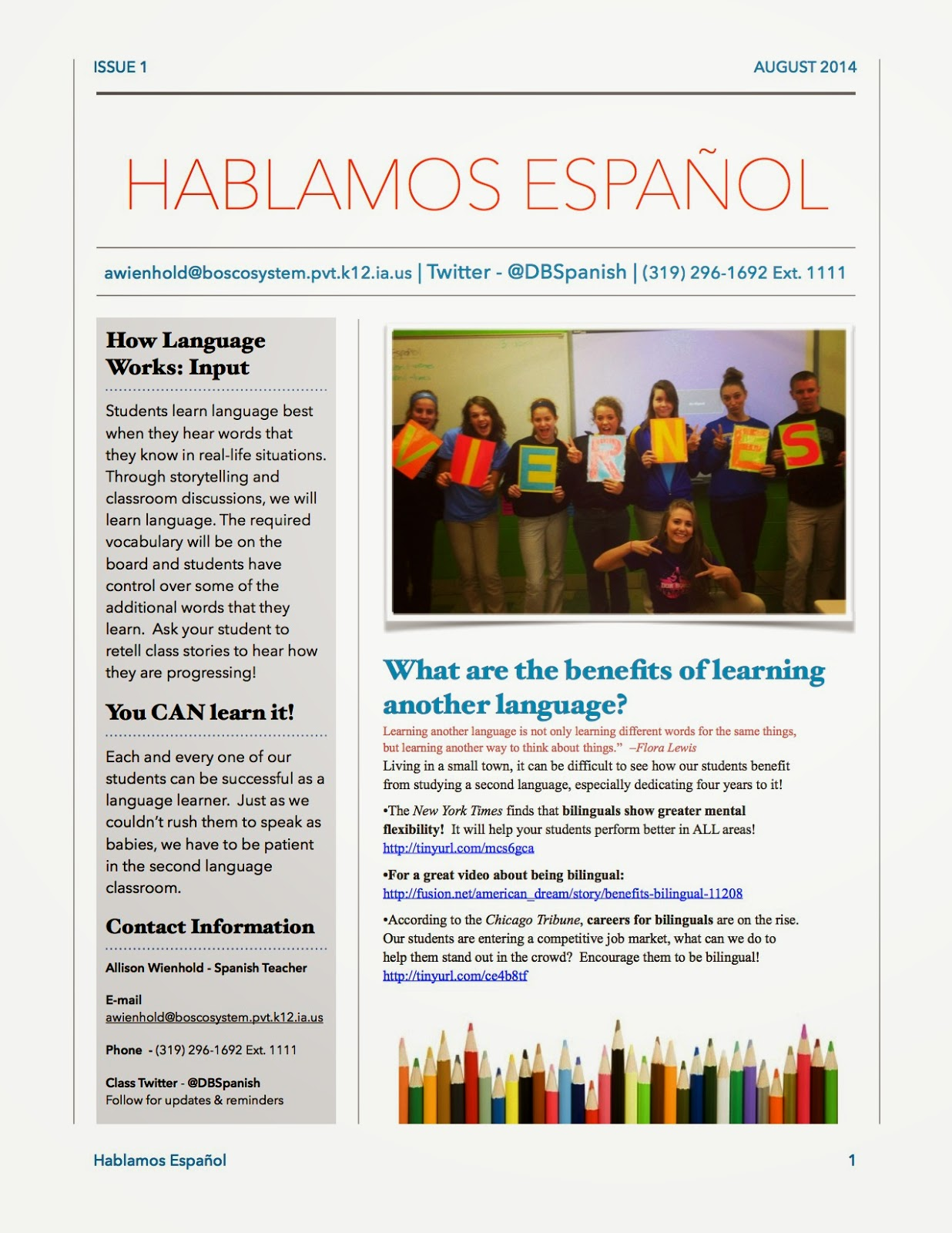 Quick Tip Parent Newsletter Mis Clases Locas - August newsletter template