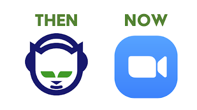 """Then"" over Napster logo. ""Now"" over Zoom logo."