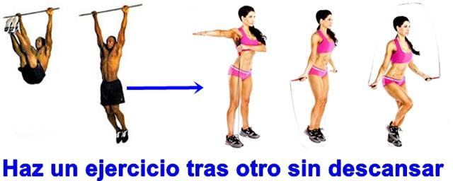 Abdominales colgado en barra y salto en lazo para aumentar el metabolismo