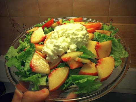 Platter of peach and cheese salad