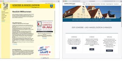 Website GHV Ehningen Vorher-Nachher-Vergleich: Links ein Screenshot der alten Website, rechts ein Screenshot der neuen.