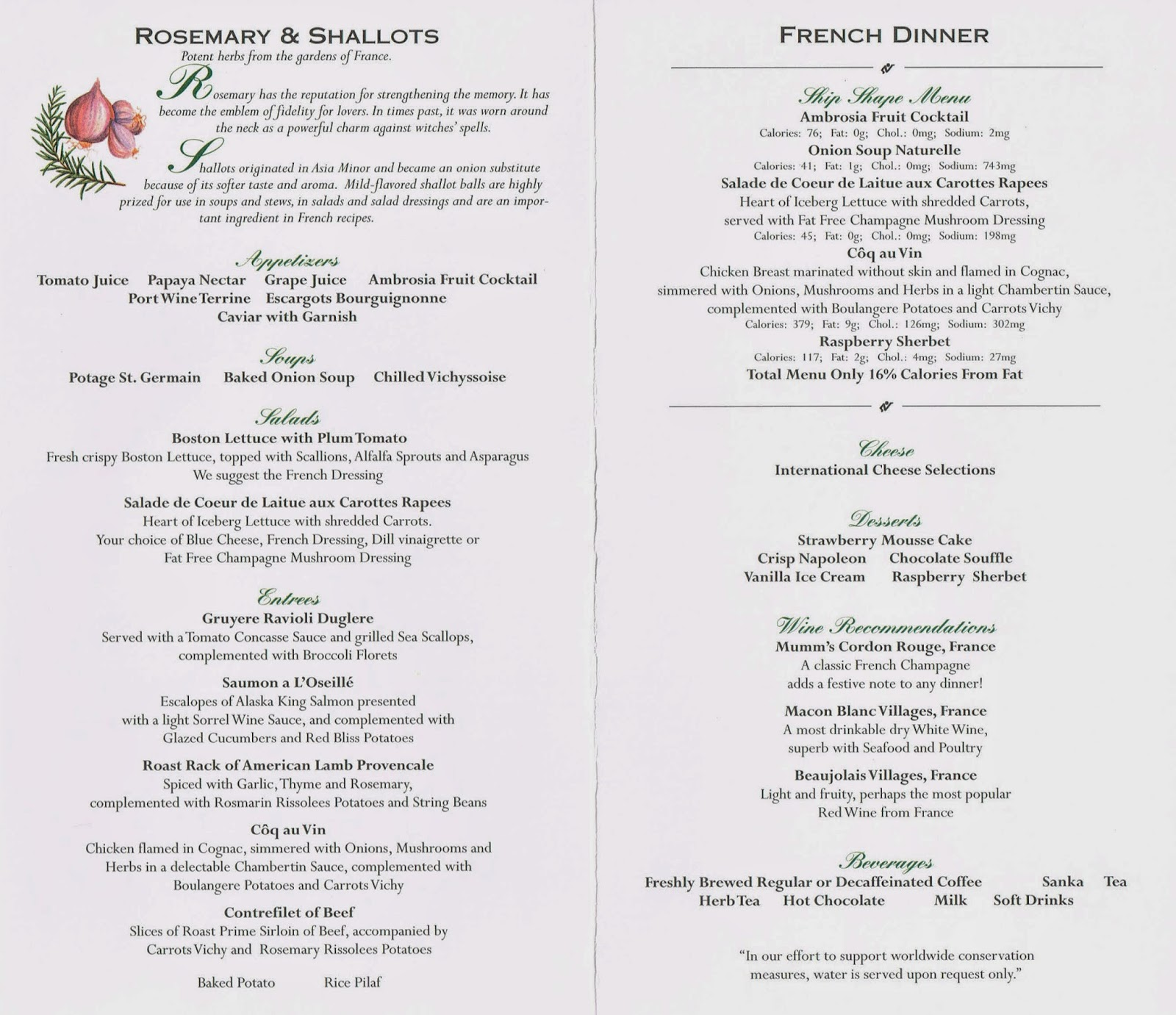 Sovereign of the Seas menu