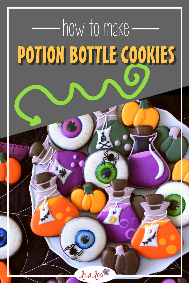Potion bottle decorated chocolate sugar cookies for Halloween