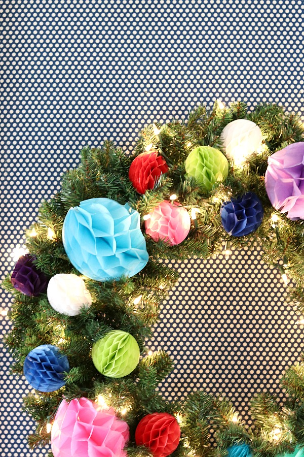 honeycomb ball Christmas wreath