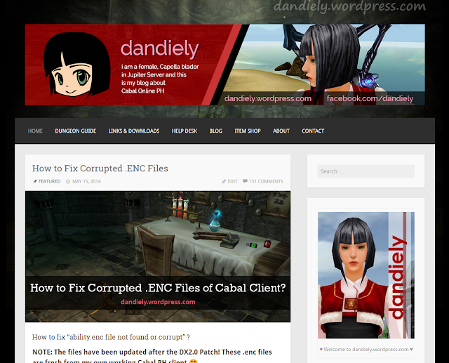 dandiely.wordpress.com is my blog for my favorite online game - Cabal Online Philippines