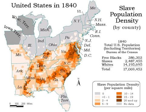 this map shows the preponderance of slaves in the us south the eastern seaboard states with high slave populations include maryland virginia