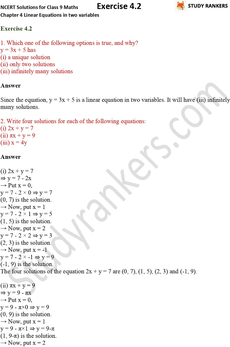 NCERT Solutions for Class 9 Maths Chapter 4 Linear Equations in Two Variables Exercise 4.2 Part 1