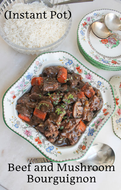 Food Lust People Love: Beef and Mushroom Bourguignon is rich and flavorful, a hearty comforting meal for cold winter nights, made quicker than usual in an Instant Pot.