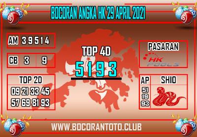 Bocoran Syair HK 29 April 2021