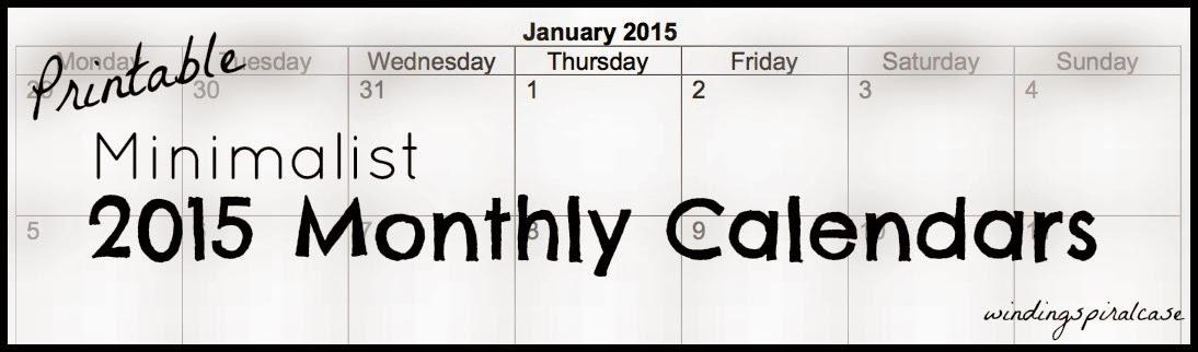 printable minimalist 2015 monthly calendar