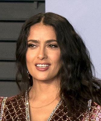 Salma Hayek Long sexy Brown Wavy Layered Hair Photos 2019