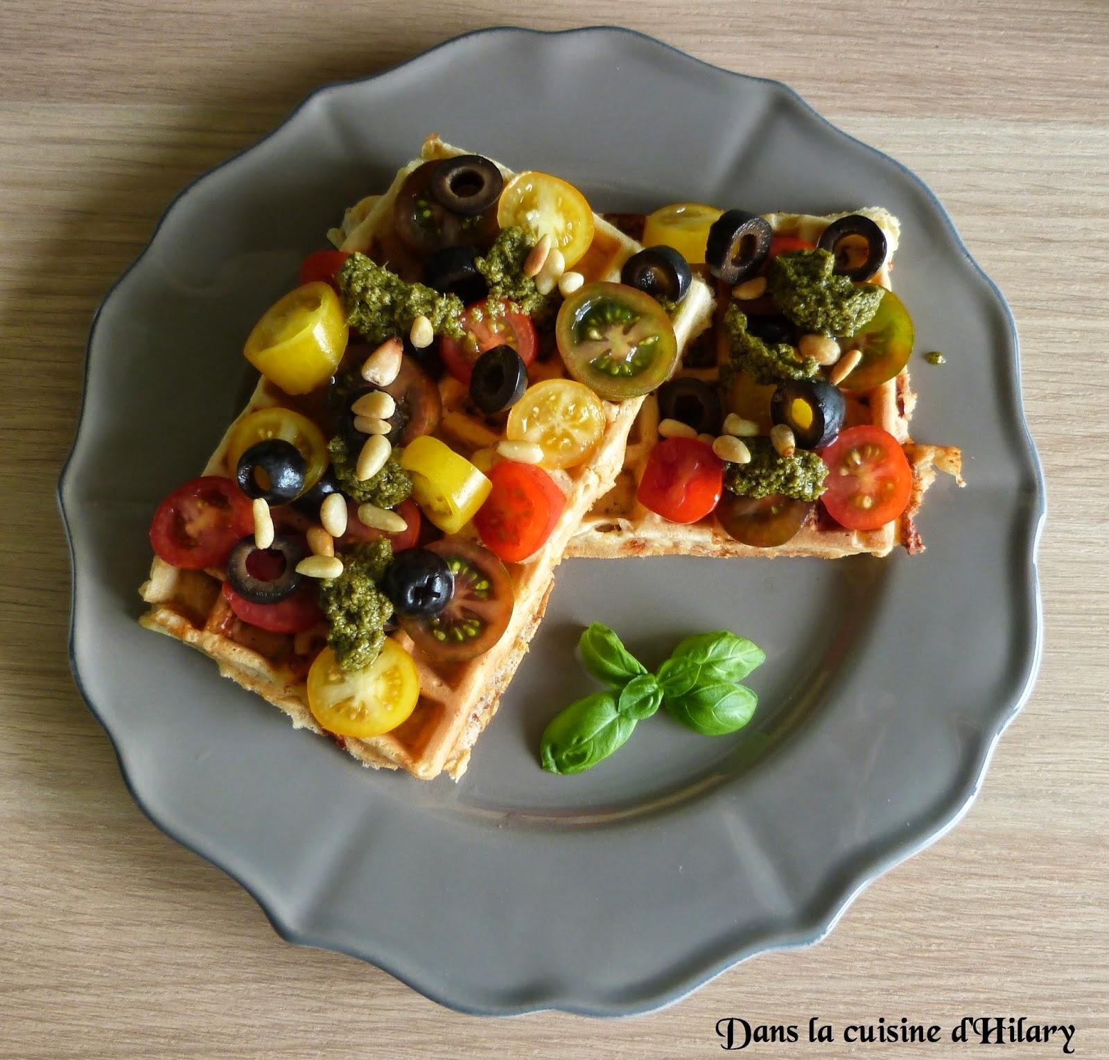 Gaufres tomates séchées, mozzarella et basilic
