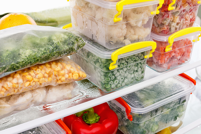 Food in storage containers