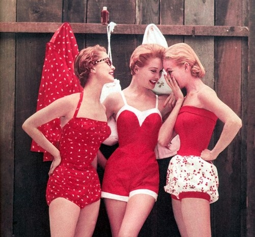 Cole Swimwear 1954. Three models wearing red swimingsuits. Age Appropriate Other stories of Matronly Women. marchmatron.com