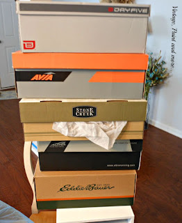 Vintage, Paint and more... stack of old shoe boxes used for projects