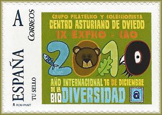 Sello personalizado dedicado a  IX EXFICO-CAO dedicado al Año Internacional de la Biodiversidad
