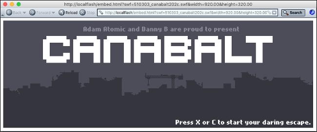"""لعبة فلاش """"Canabalt"""" في Flashpoint."""