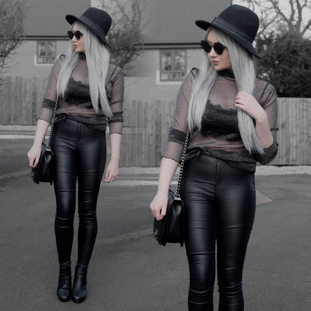 Sammi Jackson - Primark Fedora / Zaful Sunglasses / Sparkly Mesh Top / Lace Bralet / Primark Satin Jeans / OASAP Quilted Flap Bag / Office Chunky Boots
