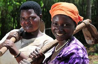 Two women tending fields in South Africa