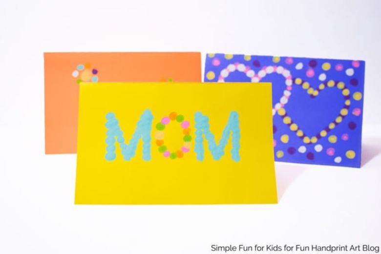 Fingerprint Mother's Day cards for kids to make