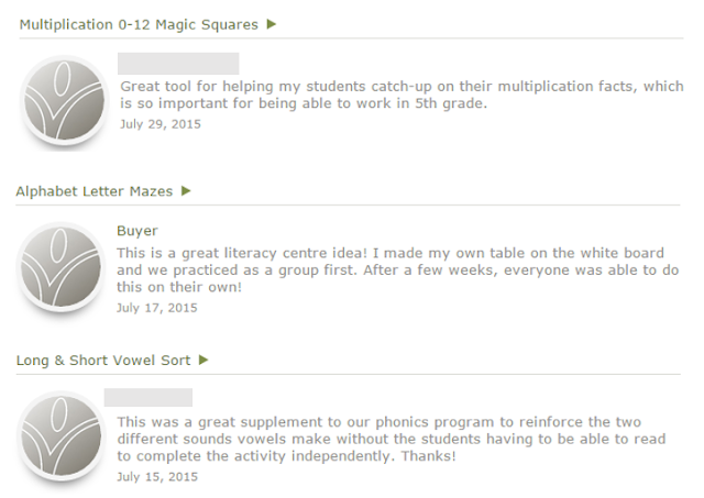 This image shows how feedback can make a seller feel they have helped you as an educator!