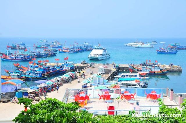 Góc nhìn từ trên lầu ra cảng Lý Sơn