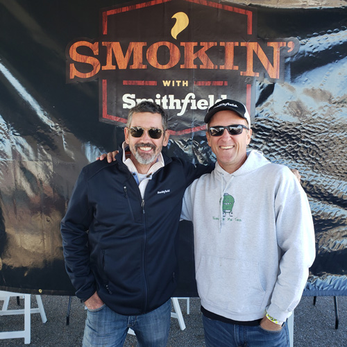Tuffy Stone with Chris Grove of Nibble Me This at the 2019 Smokin' with Smithfield National Barbecue Championship.
