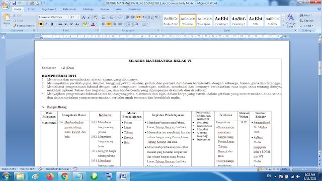 Silabus Matematika Kelas 6 Semester 2 Kurikulum 2013 Revisi Terbaru