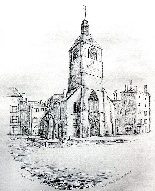 Vue de l'église et place Saint-Epvre et la statue équestre de René II de Lépy en 1846