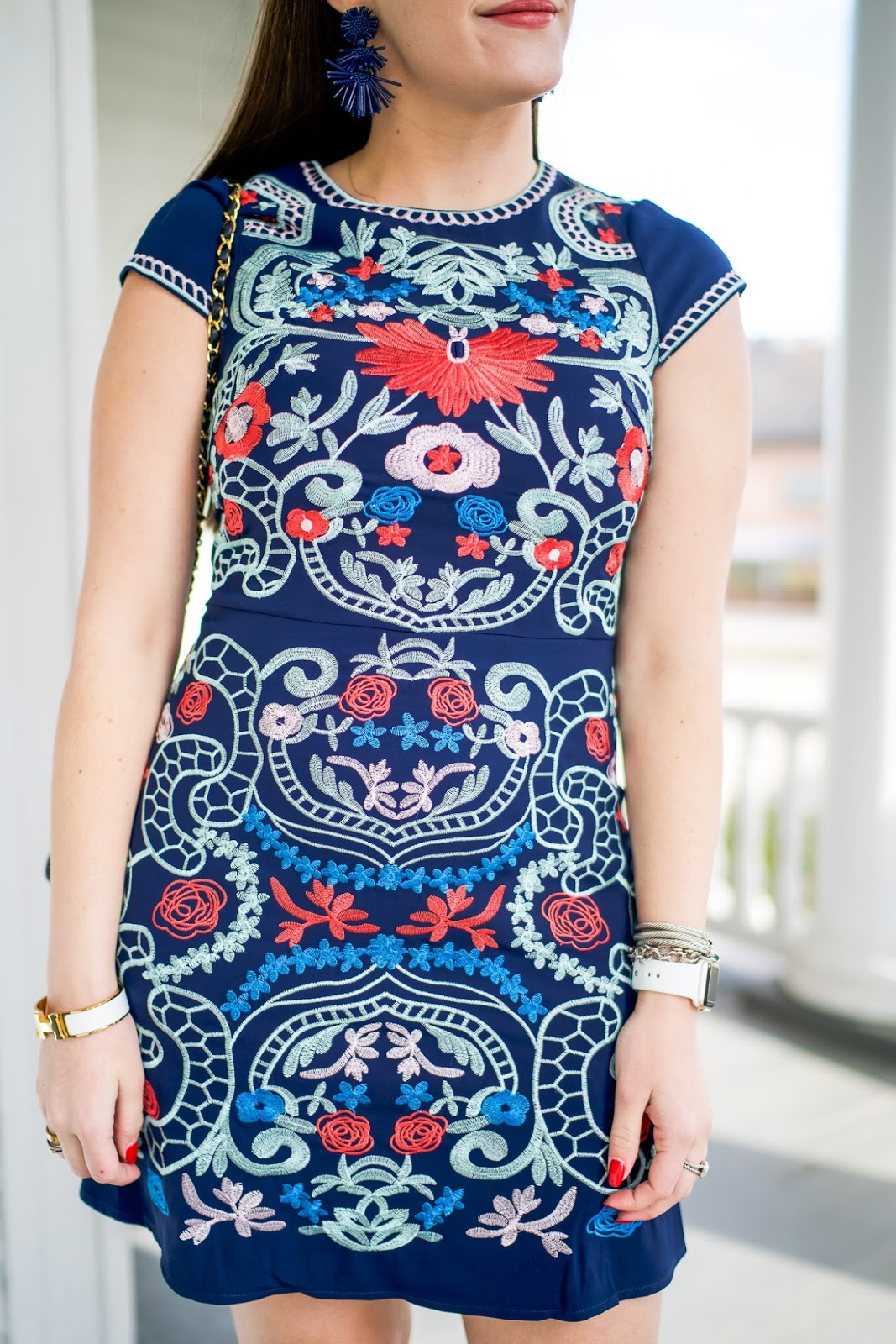 The Embroidered Dress to Make You Feel Like $100 Bill by popular New York fashion blogger Covering the Bases