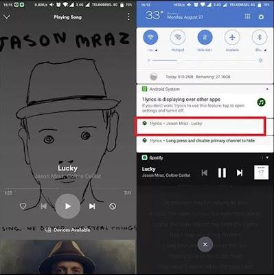 Cara menampilkan lirik lagu di spotify android