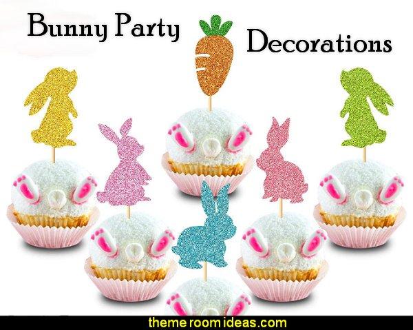 Bunny Rabbit Cupcake Topper Carrot Cake Decoration for Happy Easter Festival Spring Theme Kids Girls Boys Birthday