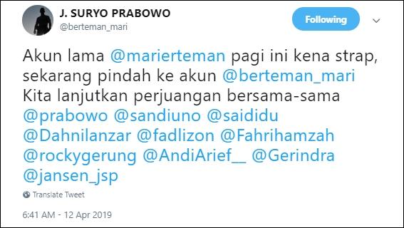 Bongkar Kecurangan Surat Suara Tercoblos 01 di Malaysia, Akun Suryo Prabowo Diretas