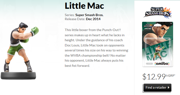 Little Mac amiibo's official description and model from Nintendo
