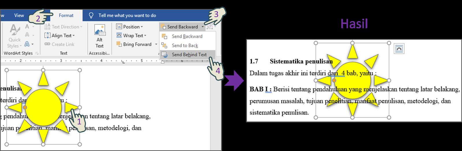 Send Behind Text