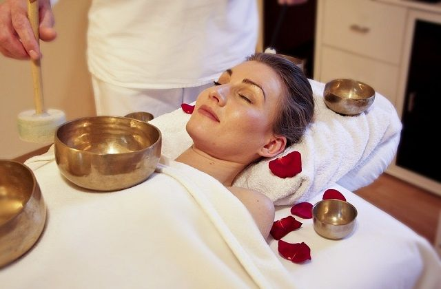 woman relaxed spa