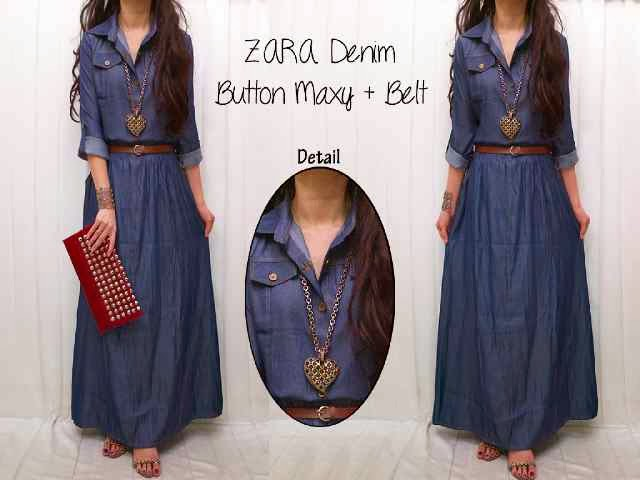bahan denim + belt fit to L