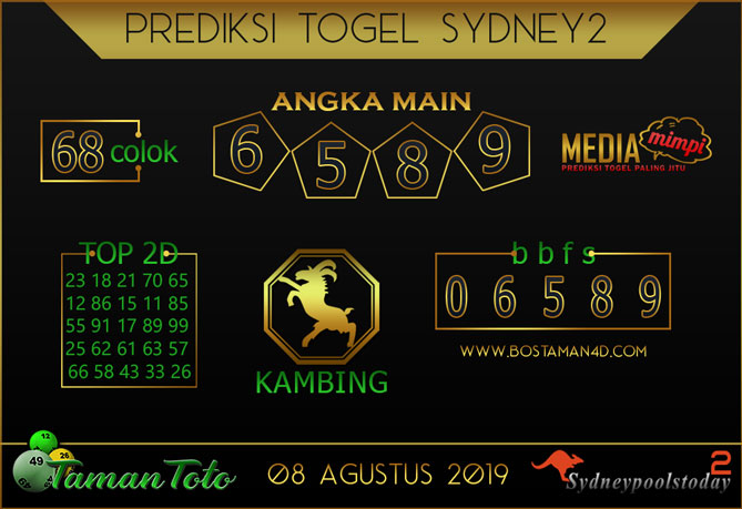 Prediksi Togel SYDNEY 2 TAMAN TOTO 08 AGUSTUS 2019