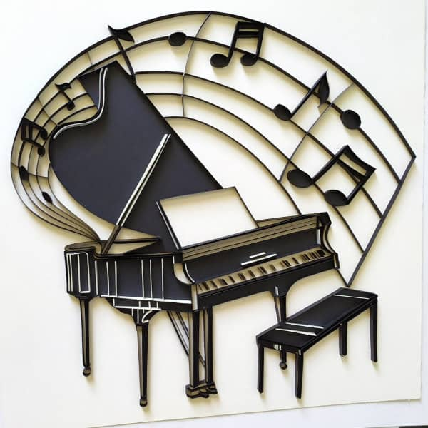 Quilled wall art piano with paper musical notes