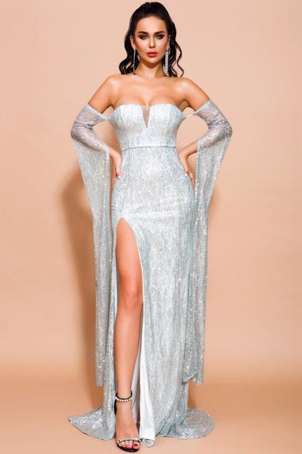 silver seuqins split prom dress