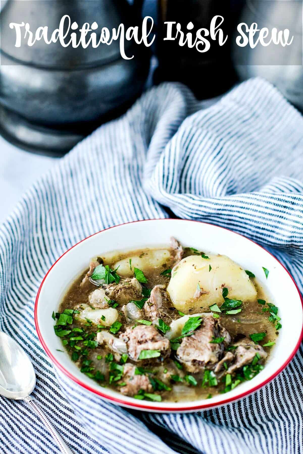 Traditional Irish Stew with lamb, potatoes, and onions