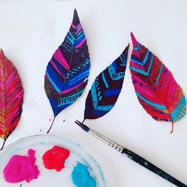 Aztec Painted Leaves Fall Craft