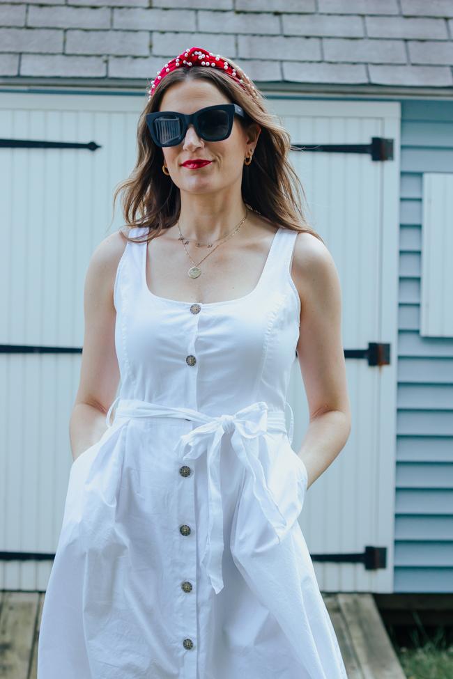 White Button Front Dress